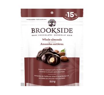 Amandes entières enrobées de chocolat noir, 210 g