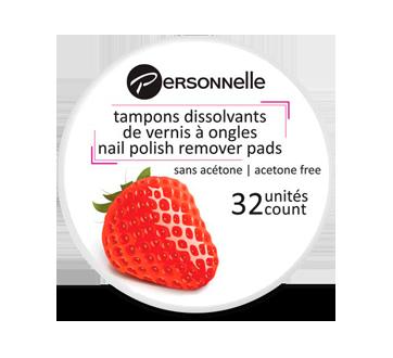 Tampons dissolvants de vernis à ongles, 32 unités, fraise