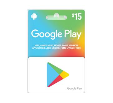 Carte-cadeau Google Play de 15 $, 1 unité