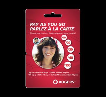 Cartes prépayées pour cellulaires Rogers Parlez à la carte<sup>MC</sup> 20 $, 1 unité