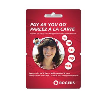 Cartes prépayées pour cellulaires Rogers Parlez à la carte<sup>MC</sup> 100 $, 1 unité