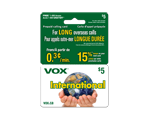 Carte d-appel prépayée VOX International 2 en 1 de 5 $