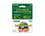 Carte d-appel prépayée VOX International 2 en 1 de 10 $
