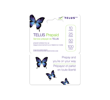 Cartes prépayées pour cellulaires TELUS 100 $, 1 unité