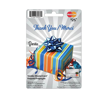Vanilla Mastercard Merci carte prépayée de 25 $, 1 unité
