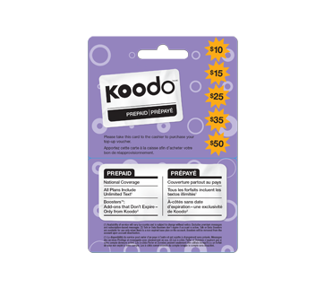 Cartes prépayées pour cellulaires Koodo 50 $, 1 unité