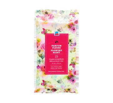 Lingettes démaquillantes, 25 unités, parfum fleuri