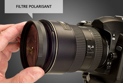 Use a wide-angle lens and polarizing filter